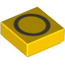LEGO Yellow Tile 1 x 1 with Letter O Decoration with Groove (13423)