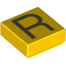 LEGO Yellow Tile 1 x 1 with Letter R Decoration with Groove (13427)