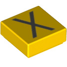 LEGO Yellow Tile 1 x 1 with Letter X Decoration with Groove (13433)