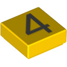 LEGO Yellow Tile 1 x 1 with Number 4 Decoration with Groove (13442)