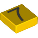 LEGO Yellow Tile 1 x 1 with Number 7 Decoration with Groove (13445)