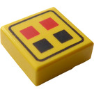 LEGO Yellow Tile 1 x 1 with Red & Black Buttons with Groove