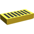 LEGO Yellow Tile 1 x 2 with Black Grille with Groove