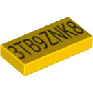 LEGO Yellow Tile 1 x 2 with Exo Force Code with Groove (58624 / 58765 / 58776)