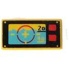 LEGO Yellow Tile 1 x 2 with Underwater Navigation with Red Aiming Circle and Squared Buttons Pattern with Groove