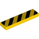 LEGO Yellow Tile 1 x 4 with Black Danger Stripes (Yellow Corners) (73823)