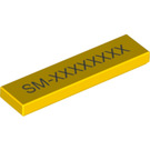 LEGO Yellow Tile 1 x 4 with Decoration (19236)
