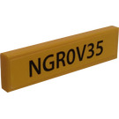 LEGO Yellow Tile 1 x 4 with NGR0V35 License Plate Sticker