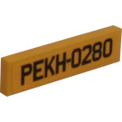 LEGO Yellow Tile 1 x 4 with PEKH-0280 License Plate Sticker