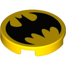 LEGO Yellow Tile 2 x 2 Round with Batman Logo with Bottom Stud Holder (26619)