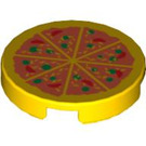 """LEGO Yellow Tile 2 x 2 Round with Pizza with """"X"""" Bottom (81867)"""