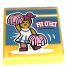 LEGO Yellow Tile 2 x 2 with Cheerleader Dance with Groove (72844)