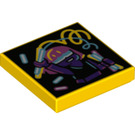 LEGO Yellow Tile 2 x 2 with Decoration with Groove (72848)