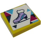 LEGO Yellow Tile 2 x 2 with Ice Skate Sticker with Groove