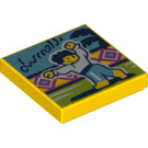 LEGO Yellow Tile 2 x 2 with Latin Dance print with Groove (72785)