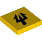 LEGO Yellow Tile 2 x 2 with Trident with Groove (58640)