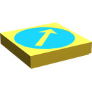 LEGO Yellow Tile 2 x 2 with White Arrow in Blue Circle Decoration with Groove