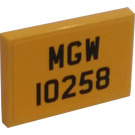 LEGO Yellow Tile 2 x 3 with License Plate MGW 10258 Sticker