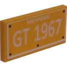 LEGO Yellow Tile 2 x 4 with Michigan GT 1967 License Plate Sticker