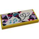 LEGO Yellow Tile 2 x 4 with Microphone and Musical Notes Sticker