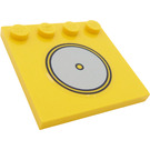 LEGO Yellow Tile 4 x 4 with Studs on Edge with Sticker from Set 5848