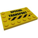 LEGO Yellow Tile 4 x 6 with Edge Studs with Sticker from Set 7249