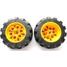 LEGO Yellow Tire 49.6 x 20 Thick Rubber (Balloon 20 x 30) with Technic Hub Ø30.4 X 20