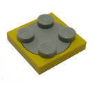 LEGO Yellow Turntable 2 x 2 Plate with Light Gray Top