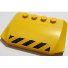 LEGO Yellow Wedge 4 x 6 Curved with Black and Yellow Danger Stripes Sticker