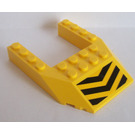 LEGO Yellow Wedge 6 x 8 with Cutout with Black and Yellow Chevrons Sticker