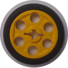 LEGO Yellow Wedge Belt Wheel with Tire for Wedge-Belt Wheel/Pulley