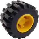 LEGO Yellow Wheel Rim Wide Ø11 x 12 with Round Hole with Tire 21mm D. x 12mm - Offset Tread Small Wide with Slightly Bevelled Edge and no Band