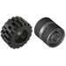 LEGO Black 11x12 Hub notched With Medium Offset Treaded Tyre Assembly