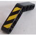 LEGO Black Beam Bent 53 Degrees, 4 and 4 Holes with Black and Yellow Stripes Sticker