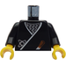 LEGO Black Castle ninja torso with wrap, brown dagger, silver star and silver zigzags pattern. With black arms and yellow hands