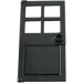 LEGO Black Door 1 x 4 x 6 with 4 Panes and Stud Handle (60623)