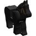 LEGO Black Horse with Black Eyes and Brown Bridle