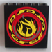 LEGO Black Panel 1 x 6 x 5 with Control Panel and Screen on Inside and Yellow Phoenix Flames on Outside Sticker