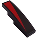LEGO Black Slope 1 x 4 Curved with Black/Red diagonal part left Sticker