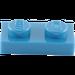 LEGO Bleu assiette 1 x 2 (3023)