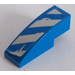 LEGO Blue Slope 1 x 3 Curved with Blue and Silver Danger Stripes Sticker