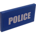 """LEGO Blue Tile 2 x 4 with """"POLICE"""" Sticker"""