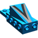 """LEGO Blue Wedge 2 x 3 with Brick 2 x 4 with Black/Silver """"V"""""""