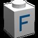 """LEGO Brique 1 x 1 avec Blue """"F"""" (3005)"""
