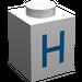 """LEGO Brique 1 x 1 avec Blue """"H"""" (3005)"""