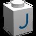 """LEGO Brique 1 x 1 avec Blue """"J"""" (3005)"""