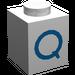 """LEGO Brique 1 x 1 avec Blue """"Q"""" (3005)"""