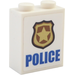 "LEGO Brick 1 x 2 x 2 with Badge and ""POLICE"" Sticker with Inside Stud Holder (3245)"