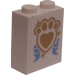 LEGO Brick 1 x 2 x 2 with Golden Paw Print and Ribbon Sticker (3245)