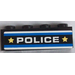 LEGO Brick 1 x 4 with 'POLICE', Blue and White Stripes and 2 Yellow Stars Sticker (3010)